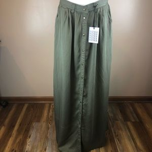 NWT Pistola scout green maxi skirt M